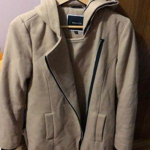 Tan pea coat with hood
